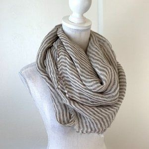 Zara Tan and Cream Striped Blanket Scarf EUC {KC}